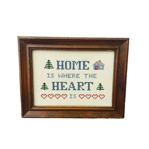 "Needlepoint Framed ""Home is where the heart is"""